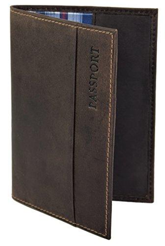 Menzo Reisepasshülle aus echten Leder Reisepassetui Passport Reisepasshülle Reisebrieftasche (marrone)