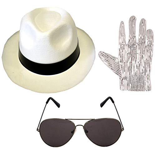 Labreeze Michael Jackson style 3pc Set White Hat Gloves Aviator Shades 1980's Accessories