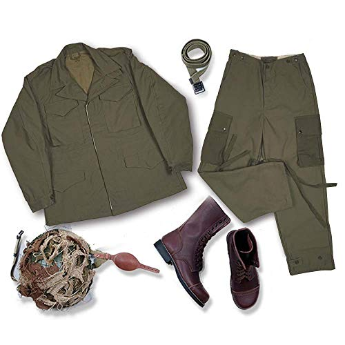 JXS Reproduktion WW2 US M43 Military Uniform Set - M1 Helm / Stiefel / Taktischer Gürtel / Jacke / Hose / Lederstiefel Set
