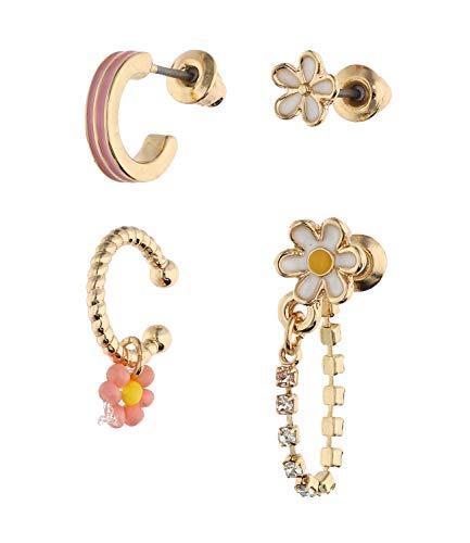 SIX Trendy 647-733 - Juego de pendientes para mujer con diamantes de imitación y diseño de flores