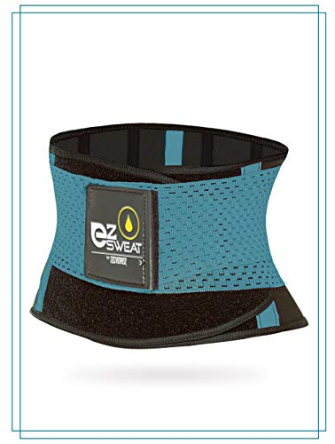 Tecnomed Neoprene Waist Trimmer Belt for Men & Women, Weight Loss Wrap, Stomach Fat Burner, Low Back and Lumbar Support with Sauna Suit Effect, Best Abdominal Trainer (GREENBLUE, Large)