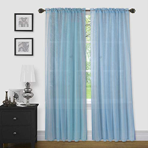 """Sapphire Home 2 Panels Window Sheer Curtains 54"""" x 63"""" Inches (108"""" Total Width), Voile Panels for Bedroom Living Room, Rod Pocket, Decorative Curtains, Solid Sheer Curtains Light Blue"""