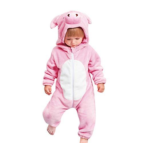 goodjinHH goodjinHH Baby Bekleidungsset für Neugeborene, Mädchen, Jungen, Cartoon-Tiere, Flanell, Strampelanzug, warme Kleidung, Rosa