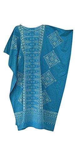Cool Kaftans Damen Bluse Malaya Schwarz Violett Rot Feiner Batikdruck Baumwolle Strandkleid Übergröße Neu - Blau, Regulär