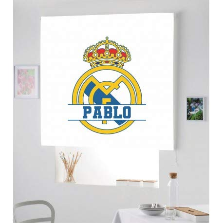 Estor Iroa Digital con Nombre Futbol R.Madrid ¡ESTORES ENROLLABLES TRANSLUCIDO O Screen Personalizado con Nombre! (40X60, Tejido Translucido)