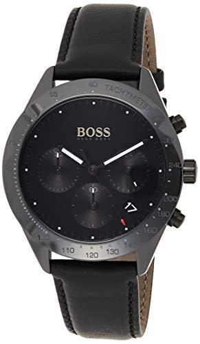 Hugo Boss Unisex Chronograph Quarz Uhr mit Leder Armband 1513590