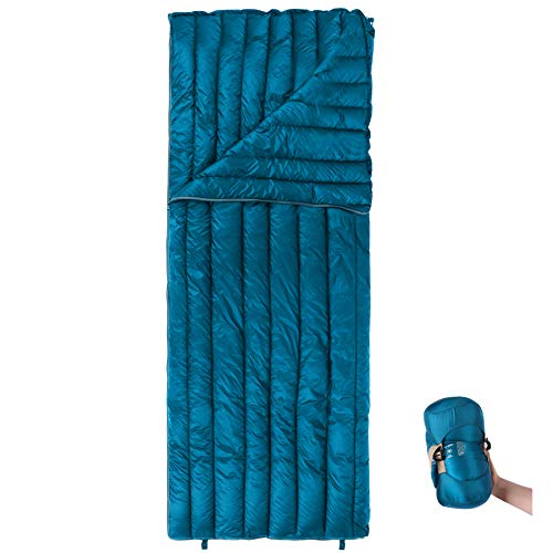 """REDCAMP Ultralight Down Sleeping Bag for Backpacking, 78.7x31.5"""" Envelope 59 Degree F 800 Fill Goose Down Underquilt Great for Adults Camping Hiking, Cyan"""