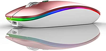 TENMOS Wireless Bluetooth Mouse, LED Slim Dual Mode (Bluetooth 5.1 + USB) 2.4GHz Rechargeable Silent Bluetooth Wireless Mo...