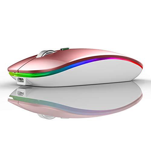 Uiosmuph Kabellose Maus, 2.4Ghz Funkmaus wiederaufladbar, leise Wireless Mouse Schnurlos Kabellos Optische Maus mit USB Nano Empfänger für PC/Tablet/Laptop und Windows/Mac/Linux (Roségold)