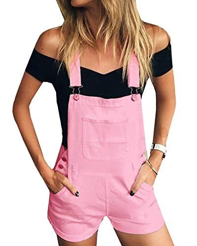 GUOCU Damen Einfarbig Kurze Jeanshose Hot Pants Frauen Denim Latzhose Freizeit Arbeitshosen Overall Jumpsuit 5 Farben Rosa M