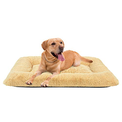 FAREYY Deluxe Dog Bed Soft Plush Pet Bed - Dog Crate Pad Mat Machine Washable Anti-Slip Dog Beds for Extra Large Medium Dogs and Cats (35