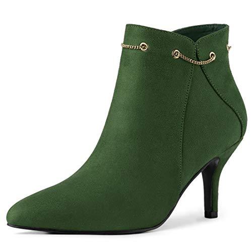 Allegra K Damen Pointed Toe Stiletto Kette Dekor Ankle Boots Stiefel Grün 38.5