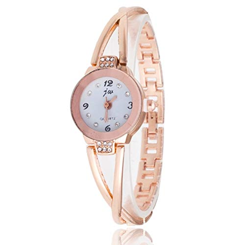 Quartz Watch Steel Belt Diamond Mirror Digital Scale Bracelet Watch Designer Simple Elegant Casual Slim Watch For Women Ladies Girls(rose Gold) (Color : White shell black surface)