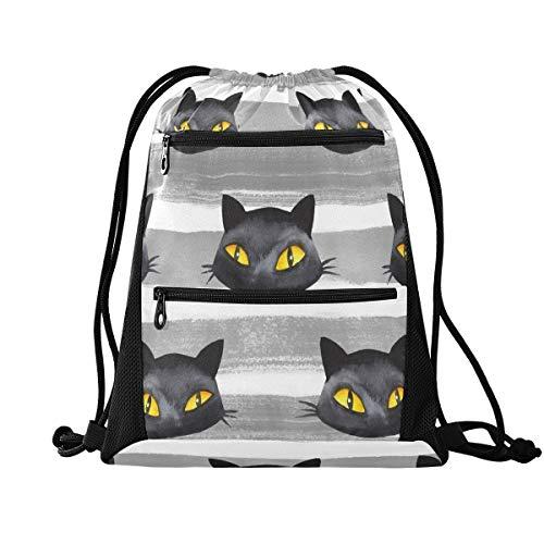 QMIN - Mochila de gimnasio con cordón para Halloween, diseño de gato, color negro, con bolsillos con cremallera, mochila deportiva, para viajes, ligera, para hombres, mujeres, niños y niñas