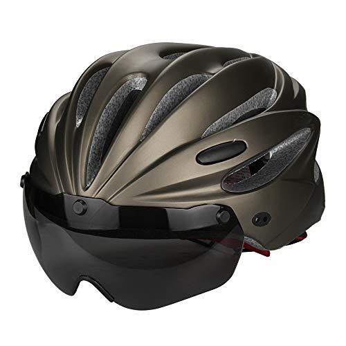 LXZC Rennradhelm Erwachsene Fahrradhelm mit Visier Abnehmbarer Sonnenschutzkappe Zyklus Helm Magnetischer Visier Schutzbrille Bike Helmet für Herren Damen Reiten im Freien,Braun