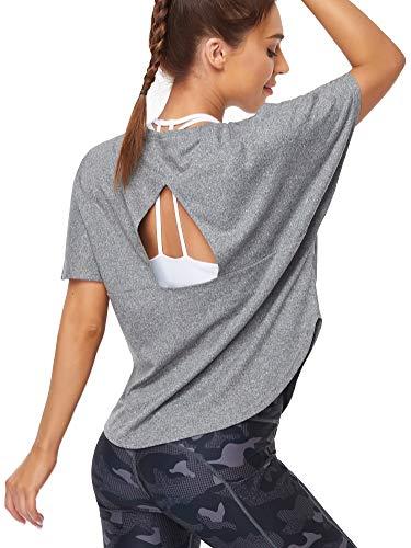COOTRY Tee Shirt Femme Sport Top de Pilate Yoga Entraînement Fiteness Running Tenue Dos Ouvert Décontracté Activewear à Manches Courtes-L.
