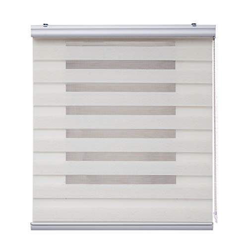 Estor Noche y Día Plus, Estor Enrollable con Doble Tejido para Ventanas y Puertas, Acabados de Aluminio Premium. (200 cm x 250 cm, Lino)