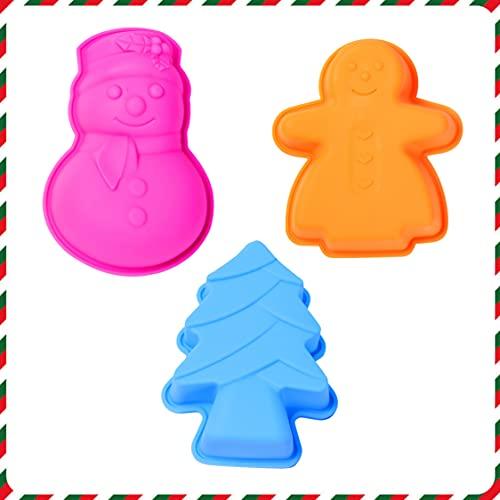 Olywee 3Pcs Silikon Kuchenform Set Lebkuchenmann Weihnachtsbaum Schneemann Antihaft-Backformen Backformen Tablett für Weihnachtsfeier