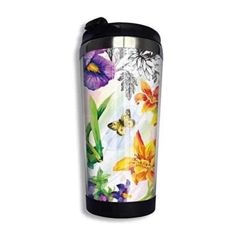 Doinh Edelstahl-Kaffeetasse, vakuumisoliert, Reisebecher, Gartenlilie, Veilchen, Saintpaulia-Blumen, Aquarell mit Schmetterlingen, auslaufsicher, 383 ml