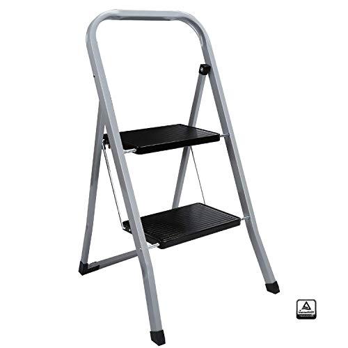 wolketon Trittleiter 2 Stufen Klappbar Sicherheits-Stehleiter Klapptritt Haushaltsleiter mit Haltebügel und großen Stufen belastbar bis 150 kg Ideal für Zuhause Küche Garage