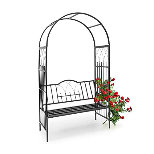 Relaxdays 10010032 - Relaxdays 10010032 - Arco de metal para rosas con banco para 2 personas color Negro
