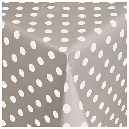 MODERNO Wachstischdecke Wachstuch Tischdecke Gartentischdecke abwaschbar rund 138 cm Punkte Grau Weiss