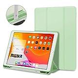 iPad 8 ケース 2020 iPad 10.2 ケース iPad 8世代 /7世代 2019モデル Apple Pencil 収納可能 スタンド機能 薄型 軽量 傷防止 オートスリープ/ウェイク 三つ折りスタンド スマートケース Apple iPad 10.2インチ (2020/2019)用ハードカバー(ミントグリーン)