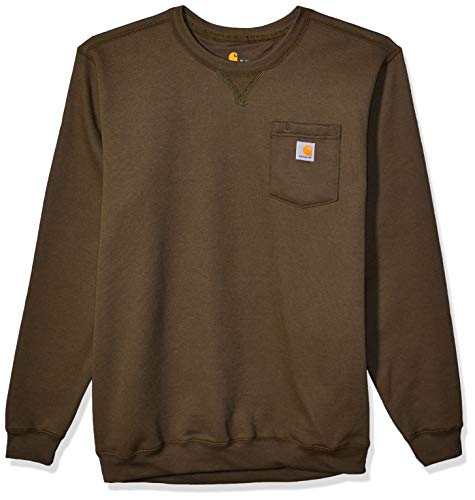 Carhartt Men's Crewneck Pocket Sweatshirt (Regular and Big & Tall Sizes), Moss, Large