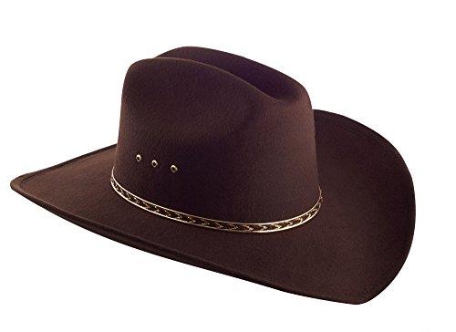 Faux Felt Wide Brim Western Cowboy Hat Elastic Band - Brown - S/M