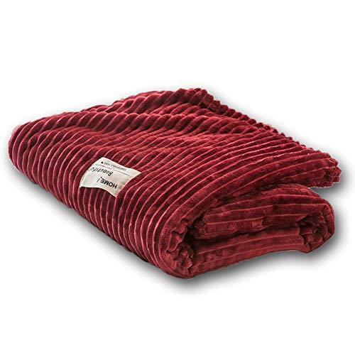 Doppelseitige Verdickung Cord Fleece Winterdecke Solid Color Quilt Home Weiche Bettwäsche Doppelte Freizeitdecke Zum Faulenzen Auf Dem Sofa/Bett Lesen Lernen,Rot,150 * 200cm