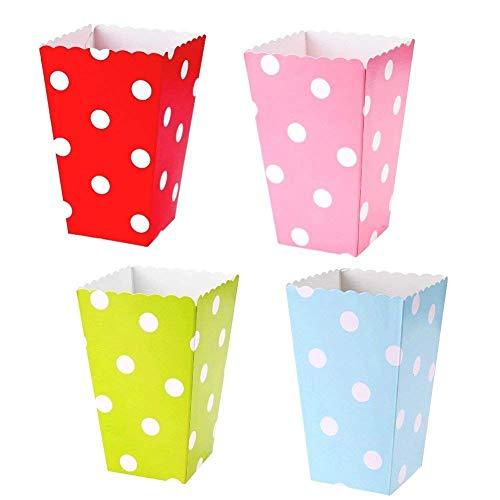 JZK 48 Stip Multicolore Klein Papier Popcorn Traktatie Dozen Kopjes Emmers Kinderen Verjaardagsfeestje Gunsten Geschenkdoos Snoepjes Snacks Container, Roze Blauw Rood Groen