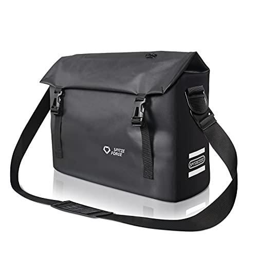 SPITZE FORGE Fahrradtasche für Gepäckträger 2in1 Umhängetasche und Gepäckträgertasche 15L mit 4 Innenfächer für 13 Zoll Laptop Fahrradtaschen Wasserdicht mit 3 Reflektoren für Pendeln, Uni, Arbeit