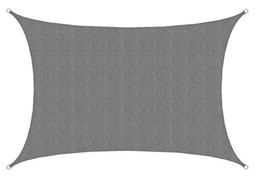 AMANKA UV Sonnensegel - 4x6 m HDPE Rechteckig - Sonnenschutz Plane Überdachung Garten Balkon Grau