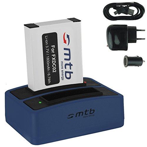 Batteria + Caricabatteria doppio (USB/Auto/Corrente) FXDC02, CFXDC02 per Drift HD Ghost (10-005-00), Ghost-S (10-007-00)