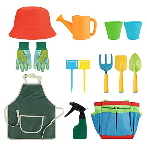 Sunydog Kids Gardening Tools Set 14 Pcs Garden Kit with Storage Bag, Watering Can, Hat, Apron, Gloves Heavy Duty Gardening Kit for Boys and Girls 3 Years +