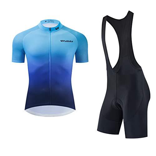 logas Rennrad Trikot Set Herren Pro Fahrrad Anzug Kurzarm Radsport-Shirt+Trägerhose mit Hochdichtem Memory Foam Sitzpolster