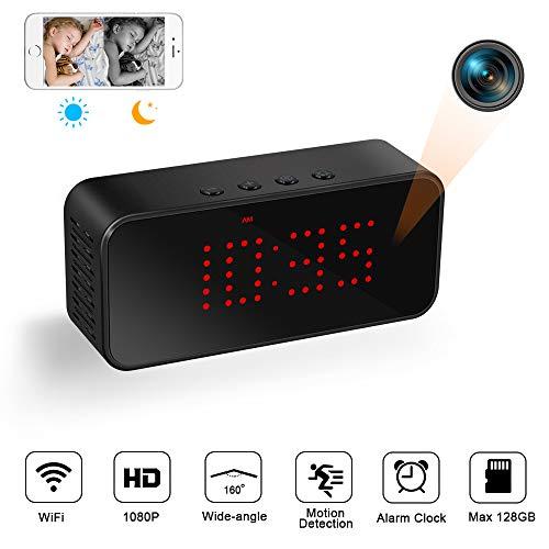 Cámara Espía Oculta WiFi 1080P Mini Videocámara Inalámbrica TANGMI Reloj Despertador Visión Nocturna Detección de Movimiento Ángulo de visión de 160