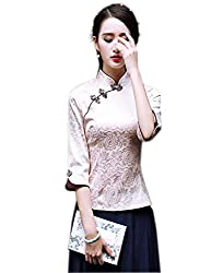 Women 3/4 Sleeve Champagne Jacquard Chinese Blouse Tang Suit Cheongsam Top Chinese Shirt Blouse Casual or Work