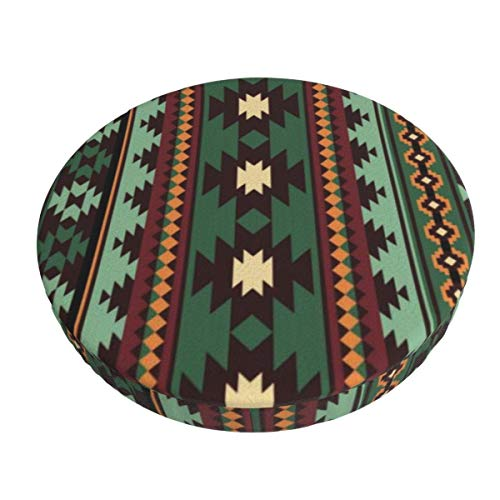 Round Bar Stools Cover,Südwestliches Stammes-Grünes Braunes Bandana,Stretch Chair Seat Bar Stool Cover Seat Cushion Slipcovers Chair Cushion Cover Round Lift Chair Stool