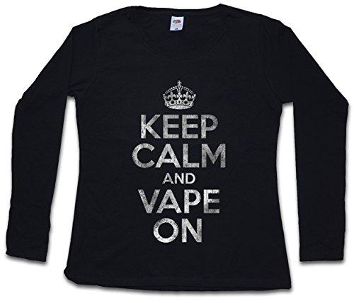 Keep Calm and Vape ON Mujer Camiseta de Manga Larga Tamaños XS - 2XL