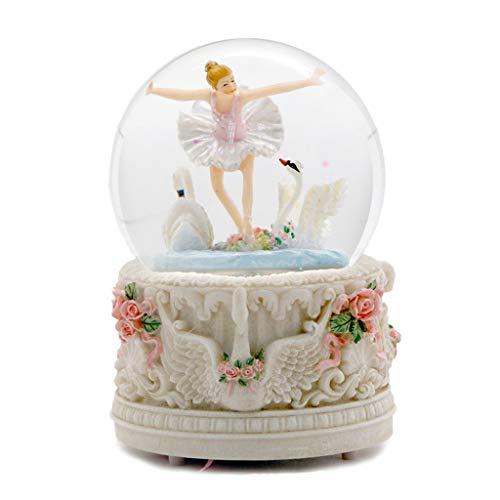 FEANG Lago de los cisnes de la Bailarina con la Caja de música de Color Llevado Ligero automático del Copo de Nieve Bola de Cristal giratoria mecánica Musical Caja de Regalo for la Esposa de la Novia