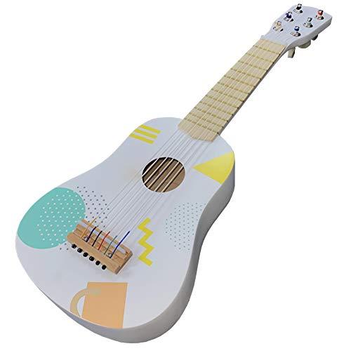 TikTakToo Kindergitarre Ukulele erstes Musikinstrument für Kinder 53 cm Holz Spielzeug Gitarre mit 6 stimmbaren Saiten musikalische Früherziehung