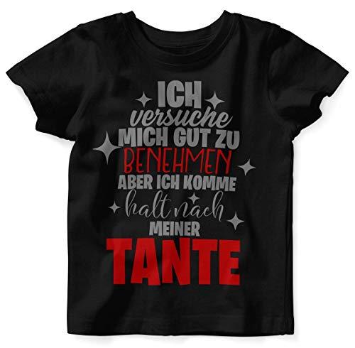 Mikalino Baby/Kinder T-Shirt mit Spruch für Jungen Mädchen Unisex Kurzarm Ich versuche Mich gut zu benehmen | handbedruckt in Deutschland | Handmade with Love, Farbe:schwarz, Grösse:80/86