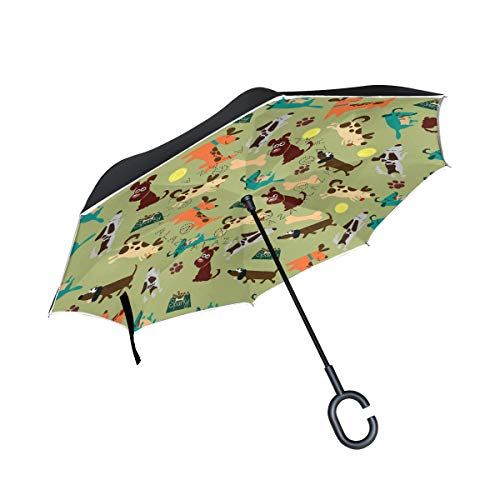 VIKKO Dog Best Friend Umbrella Double Layer Inverted Golf Umbrella Women and Men Windproof UV Proof Patio Umbrella Outdoor Rain Sun Car Travel Umbrella with C-Shape Handle