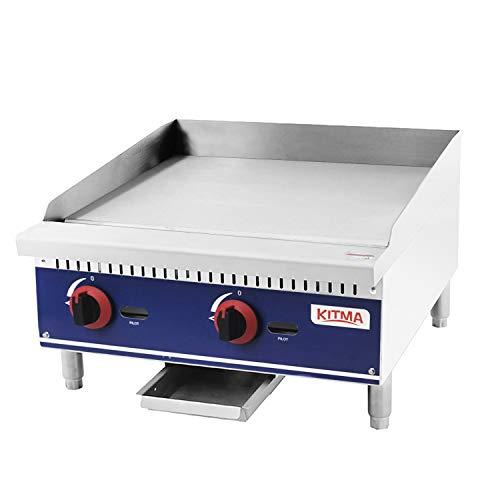 Commercial Countertop Manual Griddle - KITMA 24'' Heavy Duty Restaurant Griddle - Natural Gas Flat Top Griddle - 60,000 BTU