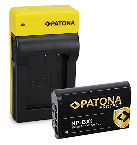 PATONA Estrecho Cargador con Protect Bateria NP-BX1, Carcasa V1 Compatible con Sony CyberShot DSC RX100, RX1r, RX100MII, WX300