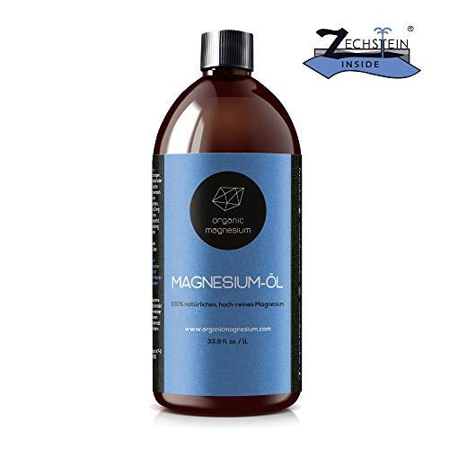 Ultra Pur MagnesiumÖl Spray - 1000ml | 100% Natürlich Reines Zechstein Öl von Organic Magnesium | Perfekt für Sport & Muskel entspannung | Flüssig Oil Konzentrat