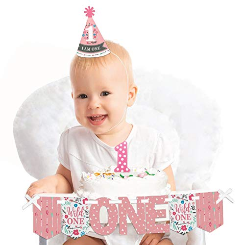 Big Dot of Happiness She's a Wild One 1st Birthday - First Birthday Girl Smash Cake Decorating Kit - High Chair Decorations
