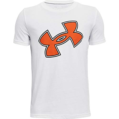 Under Armour Boys' Hoopscore T-Shirt , White (100)/Team Orange , Youth Small