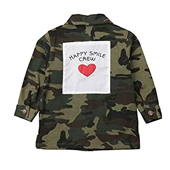 Kids Baby Girls Camouflage Letters Print Coat Button Down Denim Windbreaker Jackets 2-8 Years  Camouflage  6-7 Years